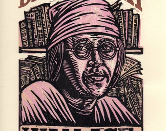 David Foster Wallace Linocut Art Print, literary wall decor