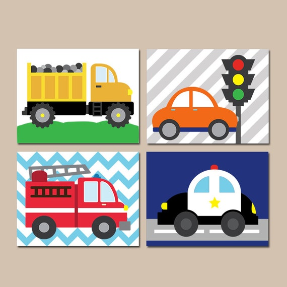 Nursery Wall Decor Transportation : Transportation wall art city theme cars baby nursery