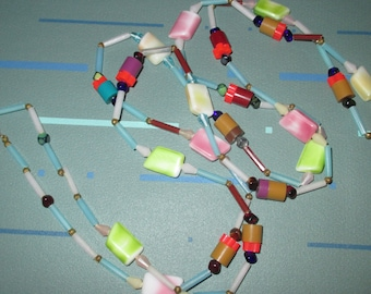 Vintage MOD 60s Multicolor Glass and Plastic Bead Long Necklace