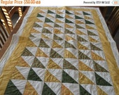 Fall Sale Sale Green and Yellow Modern Quilted Bed Runner