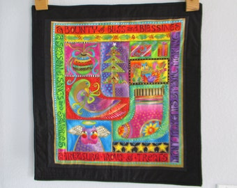 Quilted Wall Hanging made with Laurel Burch fabric with 3 tabs