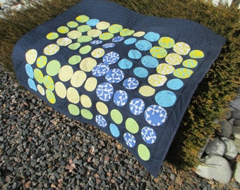 Modern Crib, Lap or Throw Quilt designed by Zen Chic and featuring her Spheres fabrics from Moda