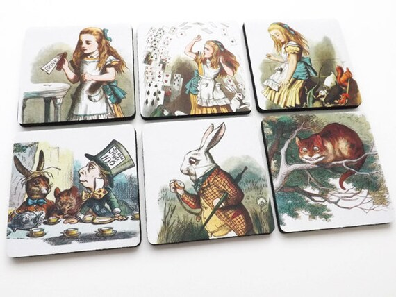 Cute Coasters Alice mad hatter rabbit drink me housewarming hostess shower gift party favor victorian cheshire cat home decor