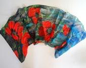 Silk scarf with Poppies print of an original artwork on silk