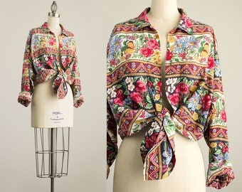 20% Off With Coupon Code! 90s Vintage Floral And Fruit Print Button Down Collared Shirt / Medium