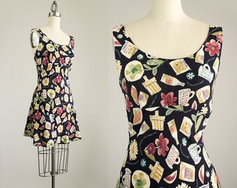 90s Vintage Floral Novelty Summertime Travel Print Mini Sun Dress / Size Small