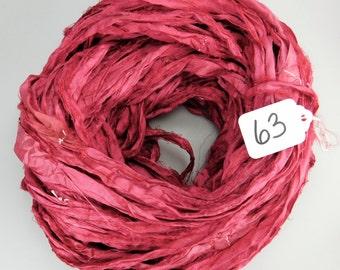 Silk Sari Ribbon, recycled sari ribbon, wine sari ribbon, wine ribbon