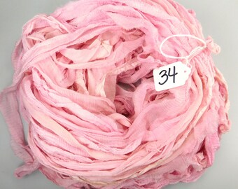 Silk sari ribbon, Recycled Silk Chiffon Sari Ribbon, Pink chiffon sari ribbon, pink sari ribbon, Tassel supply, knitting supply, pink ribbon
