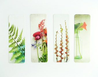 Garden Bookmark set |  floral plant bookmarks | botanical gift | small gift under 10 | four bookmarks