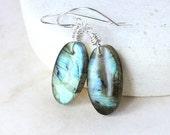 SALE 25% Labradorite  Earring Sterling  Silver  Grey Stone Earrings Wire Wrapped Gemstone Jewelry  One Of A Kind  Labradorite Jewelry Blue F