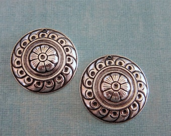 NEW 2 Silver Medallion Charms 3804