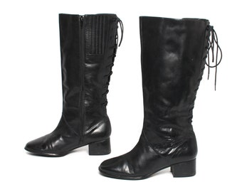 size 9.5 EQUESTRIAN black leather 80s 90s CORSET lace up knee high TALL boots