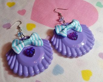 Sea shell drop earrings, mermaid sparkle hot lavender dangle seapunk