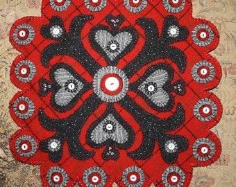 Handmade Paper Cut Valentines -- Felted Wool Penny Rug