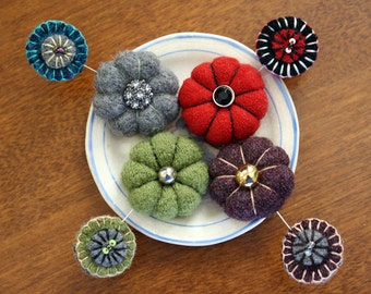 Teeny-Tiny Felted Wool Pincushion and Matching Wool Penny Pintopper