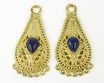 Gold Filigree Earring Charm, Tribal Earring Charm, Navy Blue Gold Chandelier Earring Findings Ornate Jewelry Supply |B8-5|2
