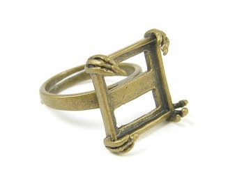 Antique Brass Ring Blank 15mm Square Claw Prongs Adjustable Ring Base |AN3-17|1