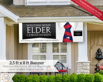 DIGITAL FILE - Giant LDS Missionary Welcome Home Banner -  Horizontal Tie - for Elders with Flag