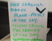 One seagull makes plane paths, handmade card with lines from poem by T. F. Rice