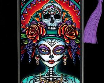 Beautiful Bones BOOKMARK Dia De Muertos Mictecacihuatl Sugar Skull Rainbow Calaca
