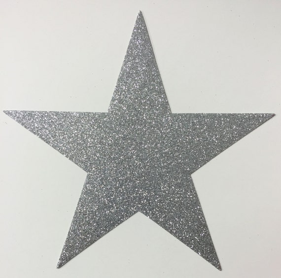 Giant Silver Glitter Star STICKERS - 7-3/4 Inch Size - 10 Stars - Scrapbook Party Decor 00413 FREE USA Shipping
