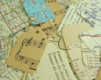 Vintage Ephemera, Vintage Paper Tags, Vintage Map Tags, Collage Supply, Gift Toppers, French Book Tags, Handmade Tags, Paper Ephemera