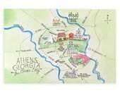 Set of Athens, Georgia Map Watercolor Postcards
