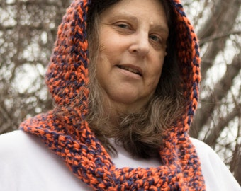 Scoodie, Hooded Scarf, Handmade, Bronco's colors,