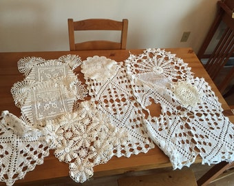 Lot of 9 damaged doilies for craft and upcycling vintage crocheted lace