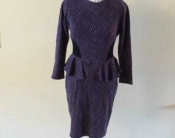Purple Dress Vintage 1980s Purple black peplum dress