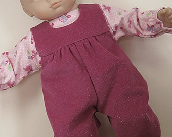 Bitty or Twin Doll Clothes - Glittered Rose Corduroy Romper with Pink Butterflies Tee