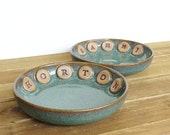 Reserved for Veronica - Custom Stoneware Kitty Dishes in Sea Mist Glaze