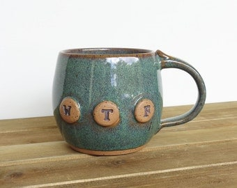 Pottery Mug in Sea Mist Glaze, Ceramic Coffee Cup, WTF