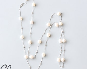 Sterling Silver Chain with White Oval Fresh Water Pearl Necklace (N118)