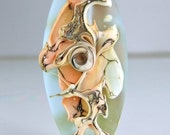 Etched Pale Aqua and Silvered Coral Ivory Organic Lampwork  Focal Bead