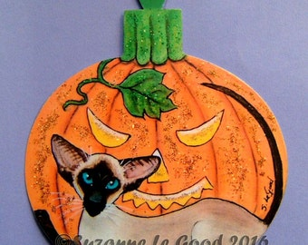 Original SIAMESE CAT HALLOWEEN  pumpkin sign by Suzanne Le Good