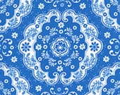 Country Blue and White Floral Lace Medallion 31272 77 Fabric by Lecien Flower Sugar