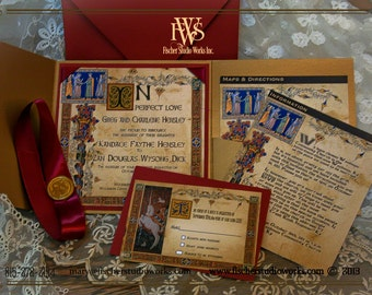 Medieval Wedding Invitations in illuminated manucript style. Fully customizable to suit your needs in color, elements and design.