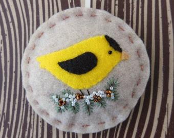 Holiday Goldfinch - Felt Bird Christmas Ornament