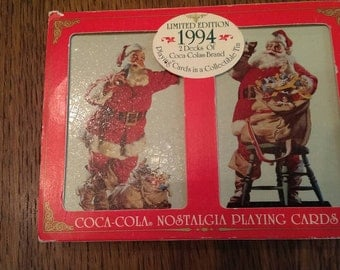 1994 Double Deck Coco-Cola Santa Playing Cards in Tin Never Opened