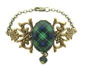 Scottish Tartan Jewelry - Ancient Romance Series - MacDonald of the Isles Filigree Half Chain Bracelet with Emerald Swarovski Crystal Charm