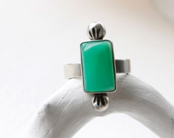 Green Light Ring - Chrysoprase Stone and sterling Silver Statement Ring