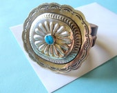 Huge Navajo Sterling Silver and Turquoise  Concho on Triple Leather Bracelet