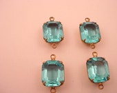 4 Vintage Glass Blue Topaz set  antique brass ox Prong  Octagon  Open Back Drop Charms Connector 12x10