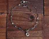 Oxidized Sterling Silver Citrine Bracelet - Bezel Bracelet - Iolite Bracelet - Dainty Chain Bracelet - Mixed Stone Bracelet