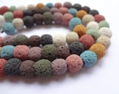 "9-10mm Colourful Round Lava Rock Beads - Full 15.5"" Strand"