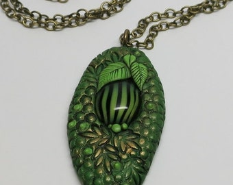 SUMMER SALE Pendant Necklace Polymer Clay, Oval Green Textured with Unique Cabochon