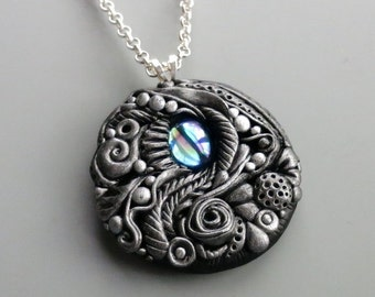SUMMER SALE Pendant Necklace Polymer Clay, Antique Silver with Vintage Sapphire AB Cabochon
