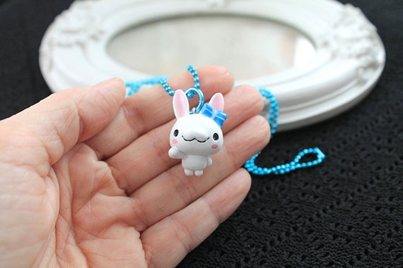 White bunny rabbit  Kawaii long Necklace Gothic Lolita blue chain