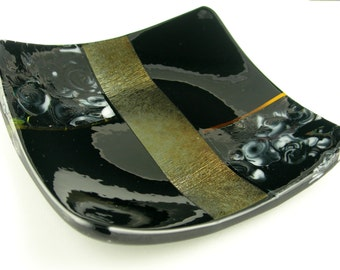 Colorful Square Fused Glass Sushi Plate Dish in Metallic Gold Copper, Amber Topaz, Black and White